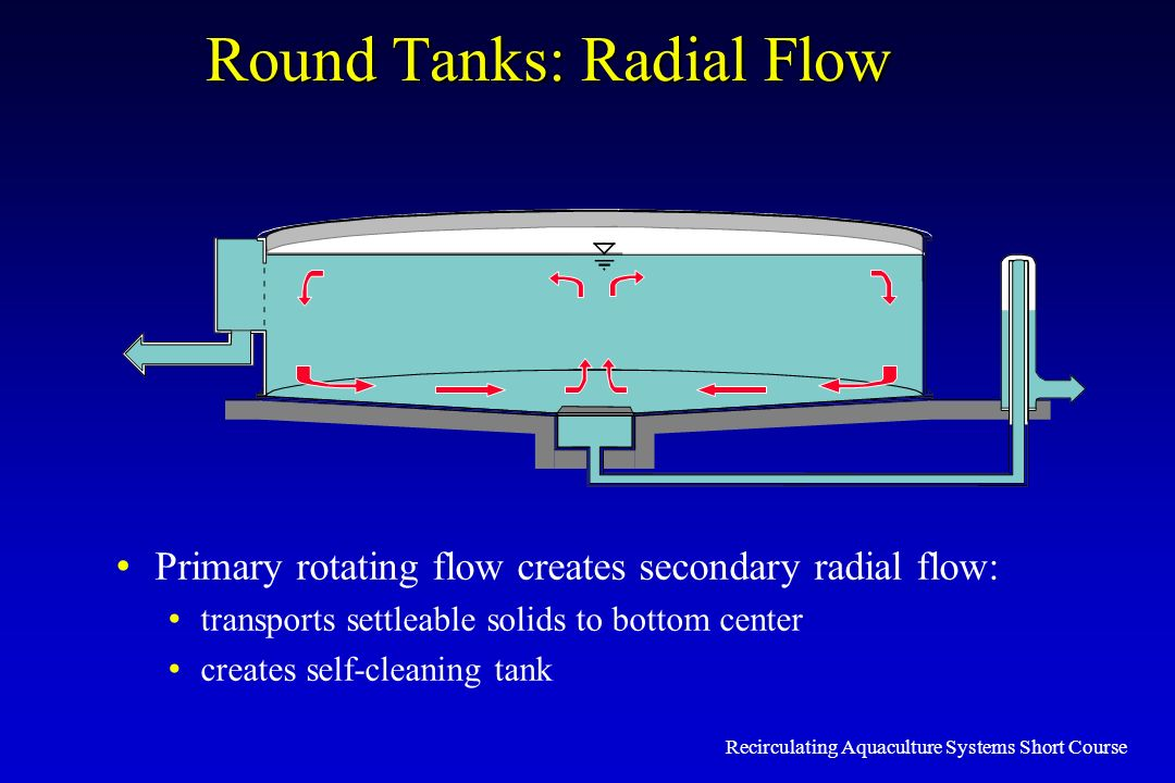 Recirculating Aquaculture Systems Short Course Round Tanks: Radial Flow Primary rotating flow creates secondary radial flow: transports settleable sol
