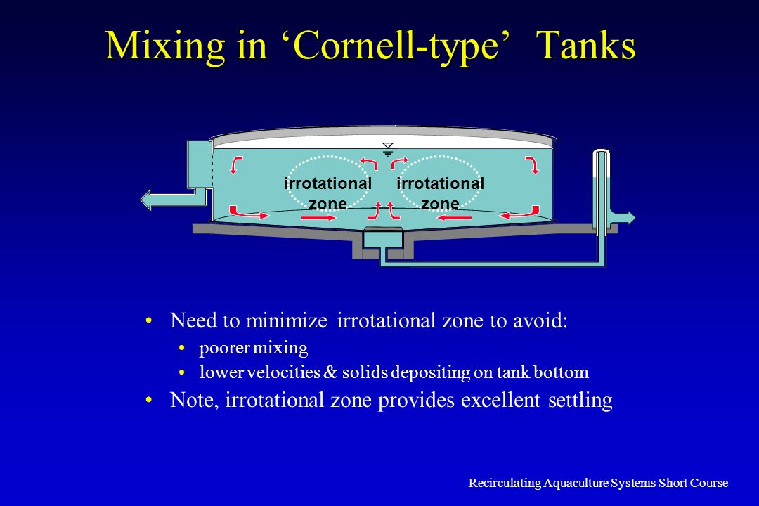 Recirculating Aquaculture Systems Short Course Mixing in Cornell-type Tanks irrotational zone irrotational zone Need to minimize irrotational zone to