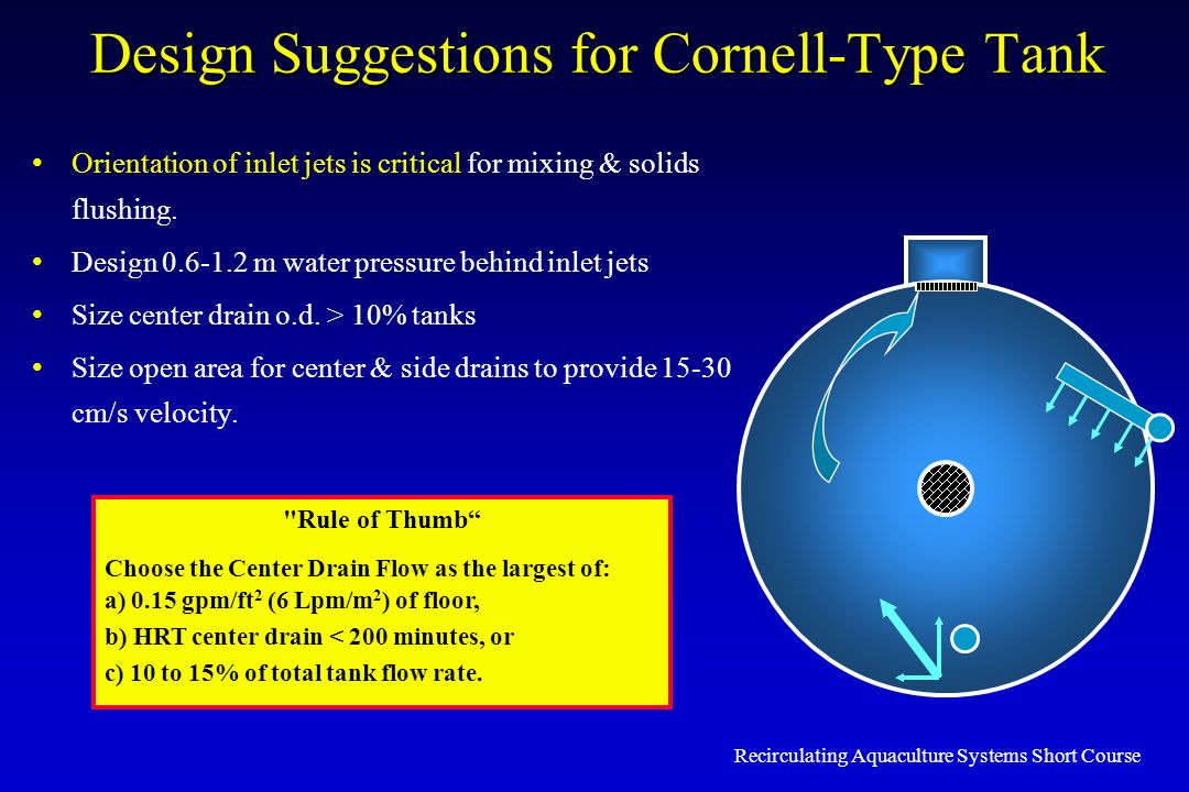 Recirculating Aquaculture Systems Short Course Design Suggestions for Cornell-Type Tank Orientation of inlet jets is critical for mixing & solids flus