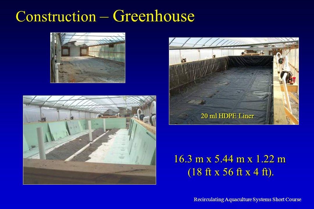 Recirculating Aquaculture Systems Short Course Construction – Greenhouse 16.3 m x 5.44 m x 1.22 m (18 ft x 56 ft x 4 ft). (18 ft x 56 ft x 4 ft). 20 m