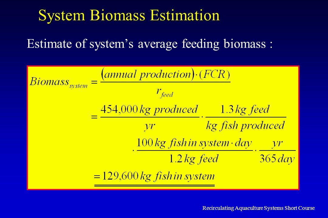 Recirculating Aquaculture Systems Short Course System Biomass Estimation Estimate of systems average feeding biomass :