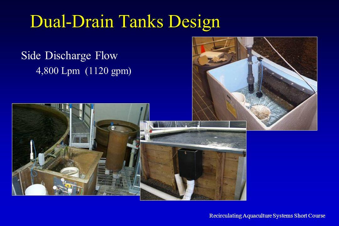 Recirculating Aquaculture Systems Short Course Dual-Drain Tanks Design Side Discharge Flow 4,800 Lpm (1120 gpm)