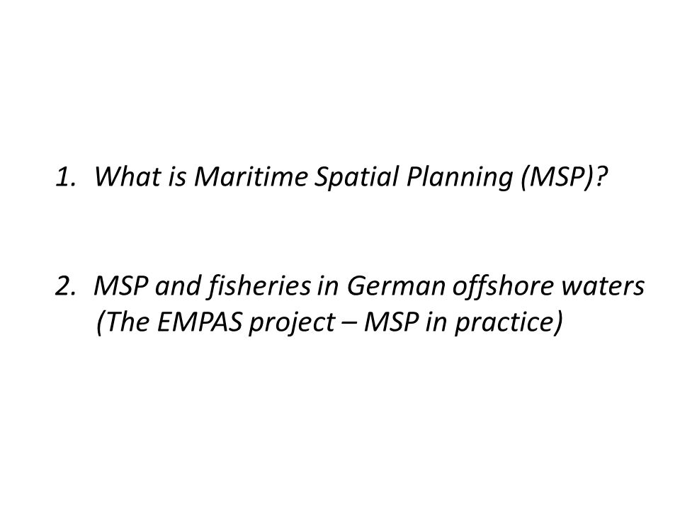 1) What is Maritime Spatial Planning (MSP).