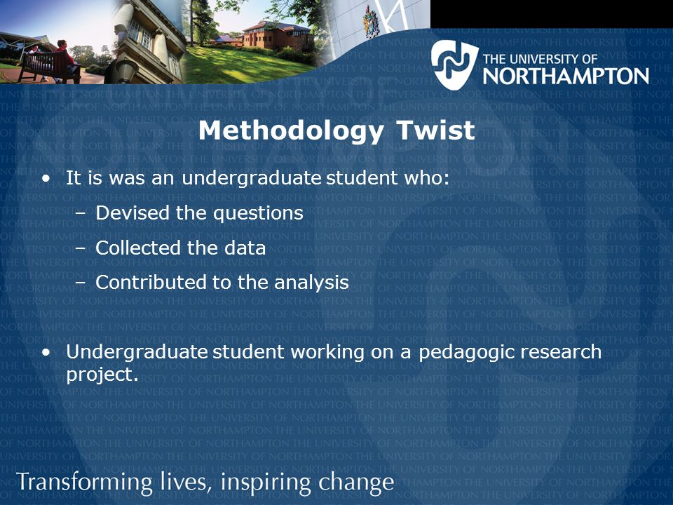 Methodology Twist It is was an undergraduate student who: –Devised the questions –Collected the data –Contributed to the analysis Undergraduate student working on a pedagogic research project.