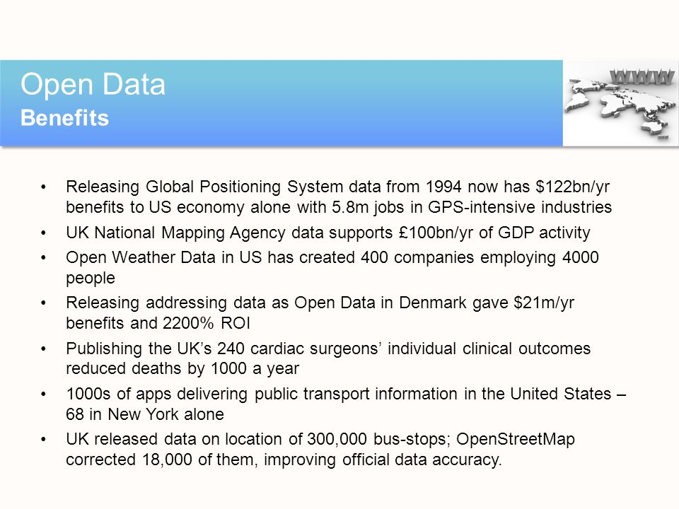Releasing Global Positioning System data from 1994 now has $122bn/yr benefits to US economy alone with 5.8m jobs in GPS-intensive industries UK Nation