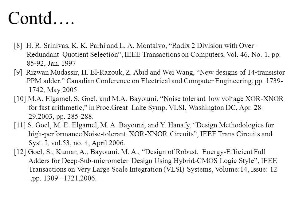 Contd….[8] H. R. Srinivas, K. K. Parhi and L. A.