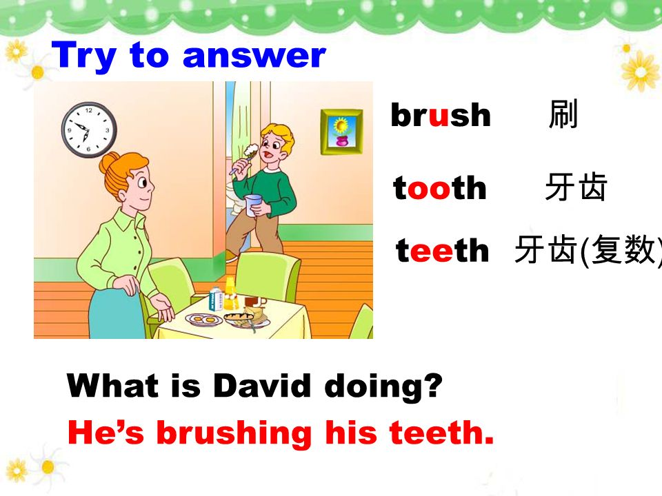 Try to answer Is David busy in the morning? Yes, he is. Why? Because he gets up late. He gets up at half past six.six