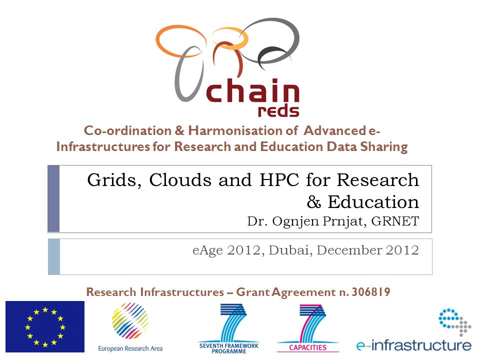 Co-ordination & Harmonisation of Advanced e- Infrastructures for Research and Education Data Sharing Research Infrastructures – Grant Agreement n. 306