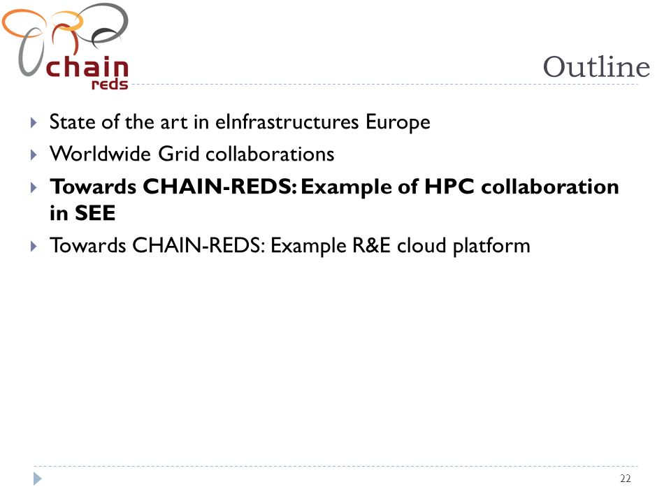 22 Outline State of the art in eInfrastructures Europe Worldwide Grid collaborations Towards CHAIN-REDS: Example of HPC collaboration in SEE Towards CHAIN-REDS: Example R&E cloud platform
