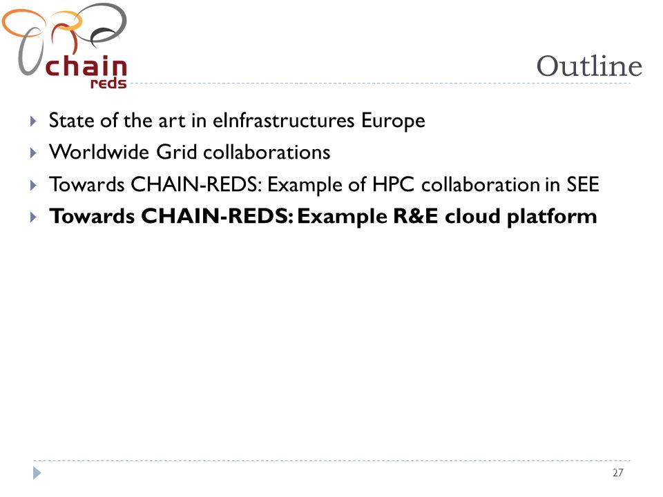 27 Outline State of the art in eInfrastructures Europe Worldwide Grid collaborations Towards CHAIN-REDS: Example of HPC collaboration in SEE Towards CHAIN-REDS: Example R&E cloud platform