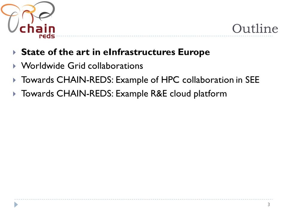 3 Outline State of the art in eInfrastructures Europe Worldwide Grid collaborations Towards CHAIN-REDS: Example of HPC collaboration in SEE Towards CHAIN-REDS: Example R&E cloud platform