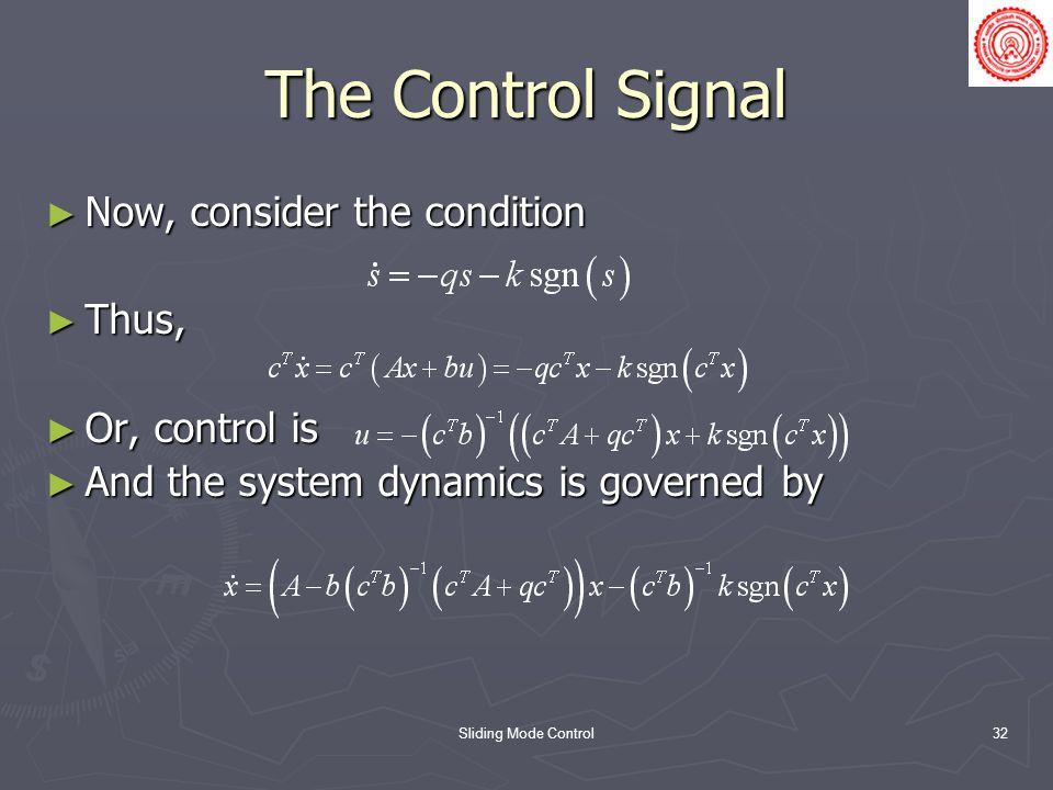 Sliding Mode Control32 The Control Signal Now, consider the condition Now, consider the condition Thus, Thus, Or, control is Or, control is And the system dynamics is governed by And the system dynamics is governed by