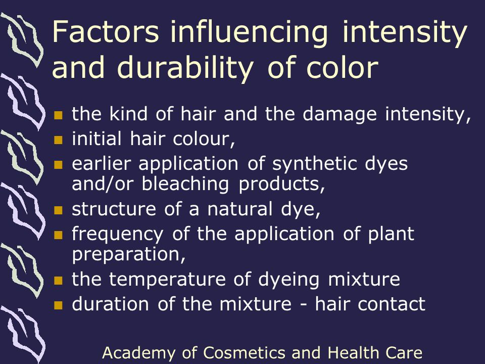 Academy of Cosmetics and Health Care Conclusions Hibiscus-based raw materials should be fully applicable to hair care cosmetics for grey and bleached hair plant-based dyeing preparations Cornflower is a plant of high interest The main problem to solve is blue pigment stability in solutions