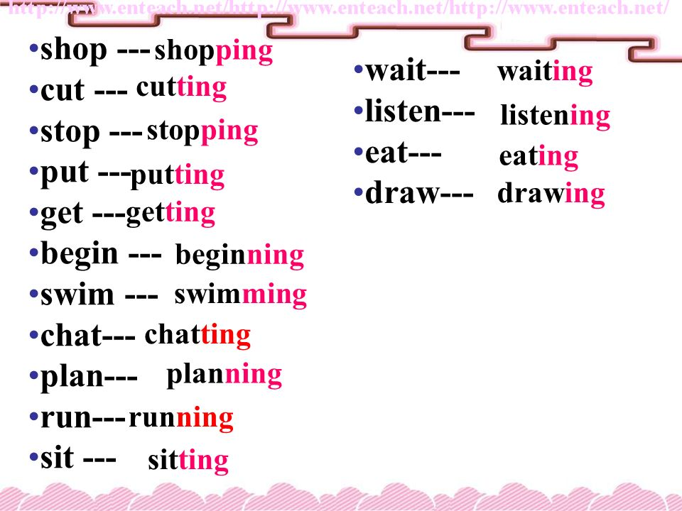 How to form the -ing form of a verb How to form the -ing form of a verb. Most verbs+ingwalk Verbs ending in e -e+ingcome Verbs ending in ie -ie+y+ingl