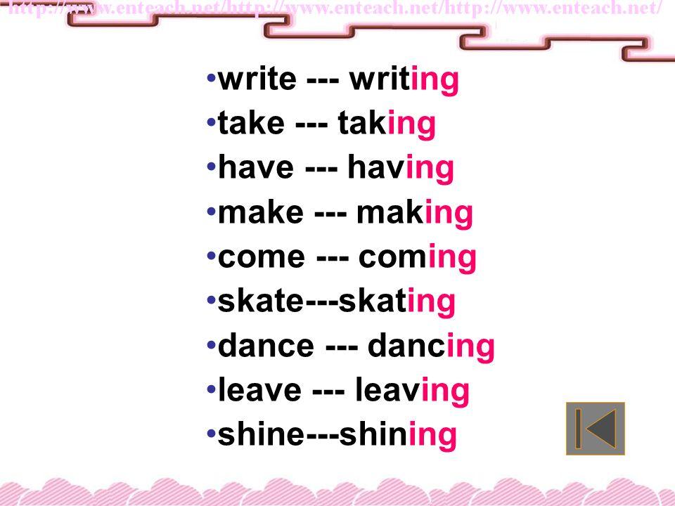 shop --- cut --- stop --- put --- get --- begin --- swim --- chat--- plan--- run--- sit --- drawing listening waiting eating shopping cutting stopping