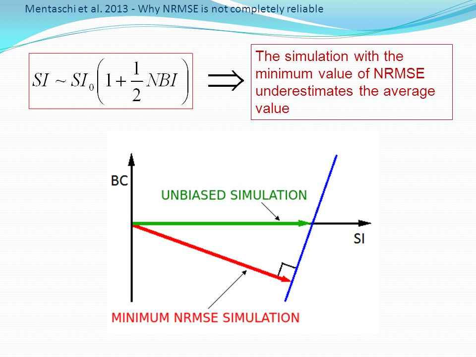 The simulation with the minimum value of NRMSE underestimates the average value Mentaschi et al. 2013 - Why NRMSE is not completely reliable