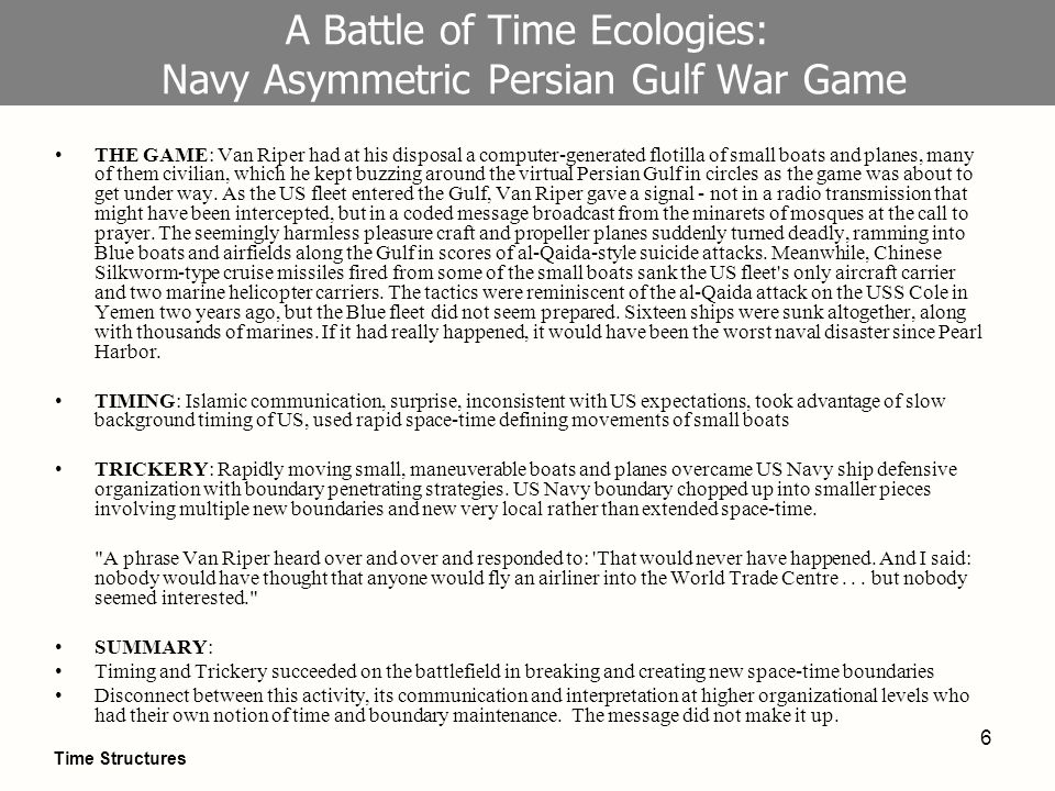 6 A Battle of Time Ecologies: Navy Asymmetric Persian Gulf War Game THE GAME: Van Riper had at his disposal a computer-generated flotilla of small boats and planes, many of them civilian, which he kept buzzing around the virtual Persian Gulf in circles as the game was about to get under way.