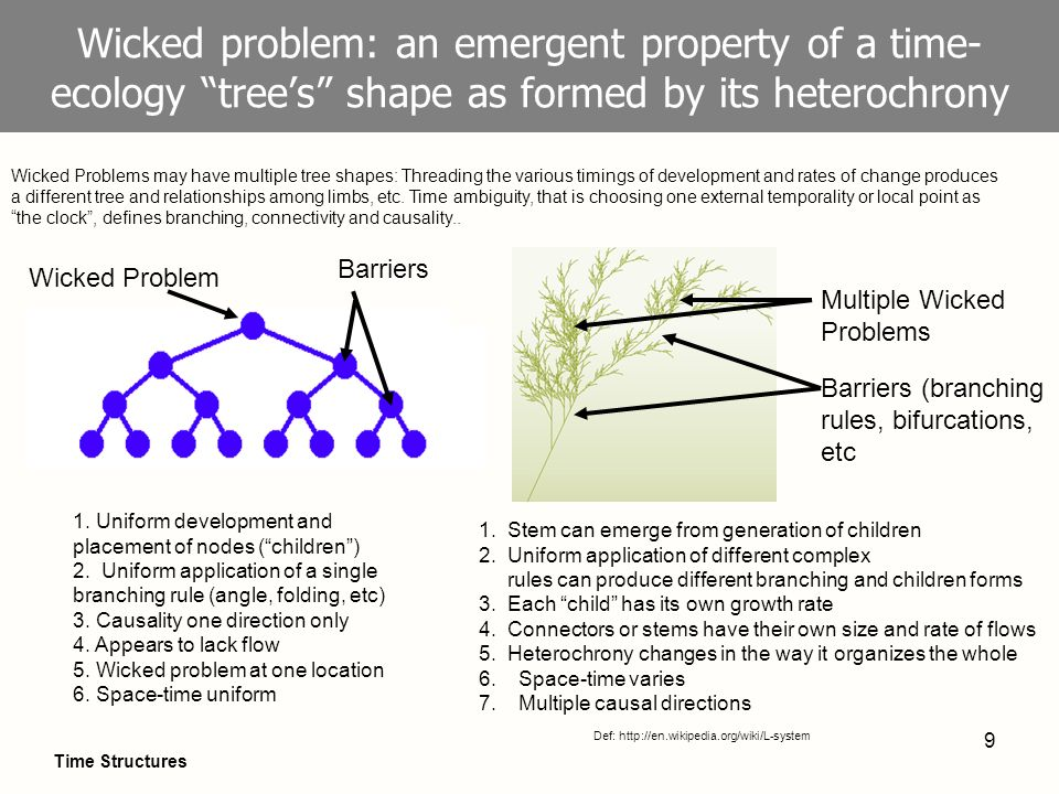 9 Def: http://en.wikipedia.org/wiki/L-system Wicked Problems may have multiple tree shapes: Threading the various timings of development and rates of change produces a different tree and relationships among limbs, etc.