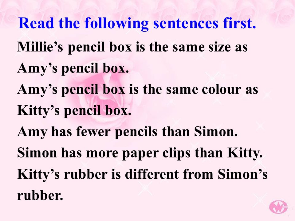 Millies pencil box is the same size as Amys pencil box.