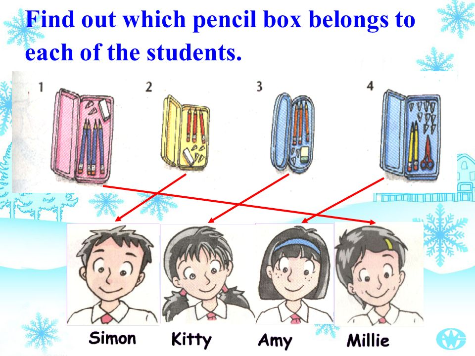 Find out which pencil box belongs to each of the students.