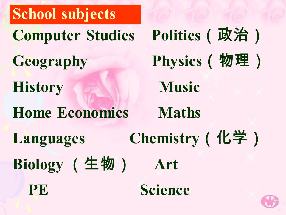 Computer Studies Politics Geography Physics History Music Home Economics Maths Languages Chemistry Biology Art PE Science School subjects