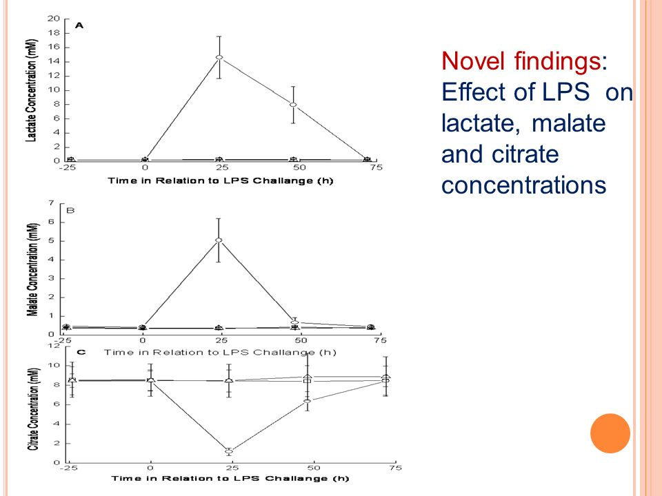 Novel findings: Effect of LPS on lactate, malate and citrate concentrations