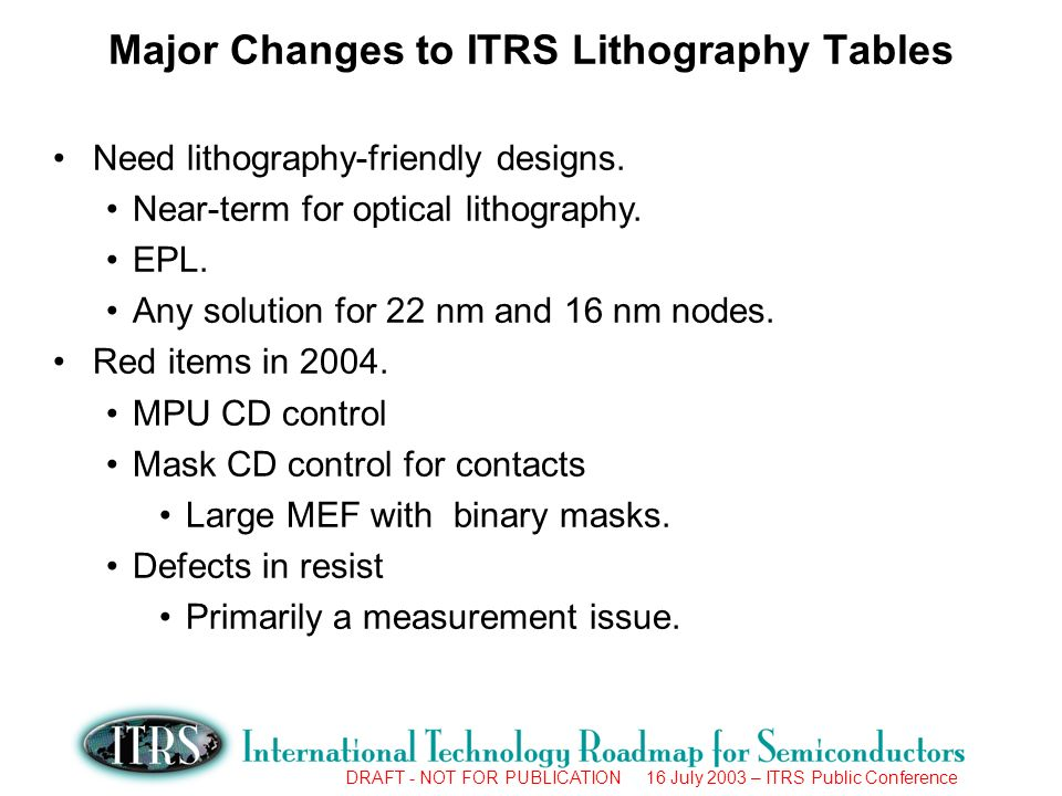 DRAFT - NOT FOR PUBLICATION 16 July 2003 – ITRS Public Conference Major Changes to ITRS Lithography Tables Need lithography-friendly designs.