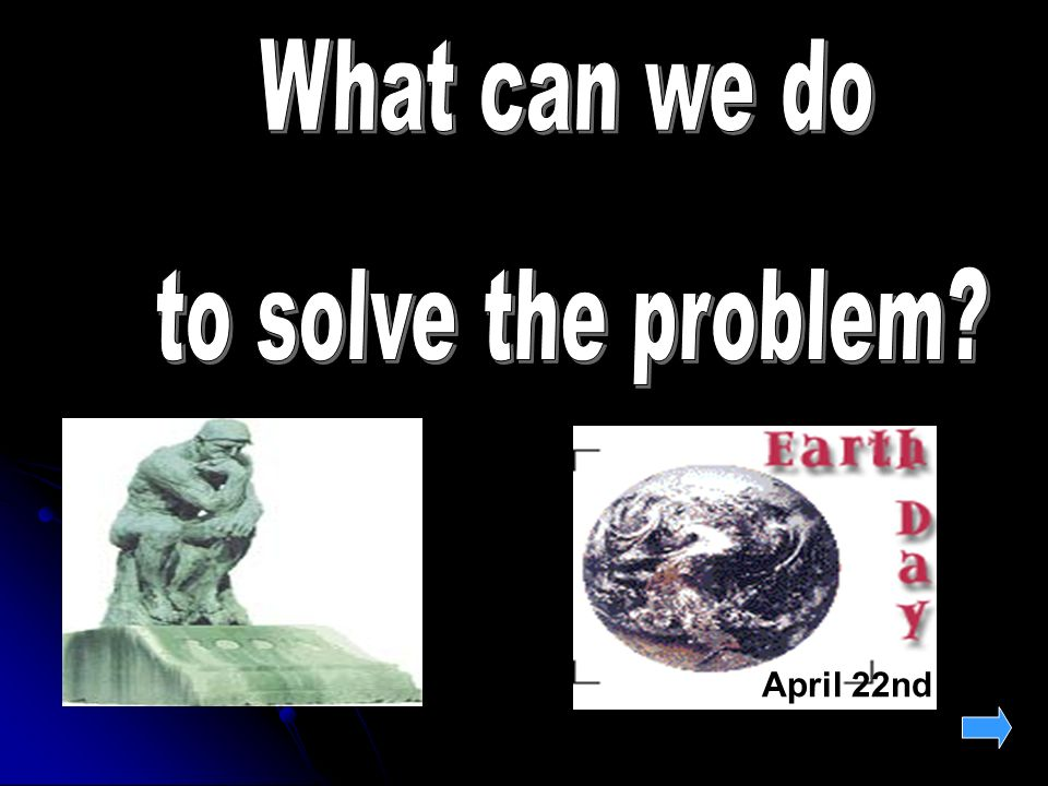 Water pollution Air pollutio n rubbish Deforestatio n problems Desertificatio n ? Warming up