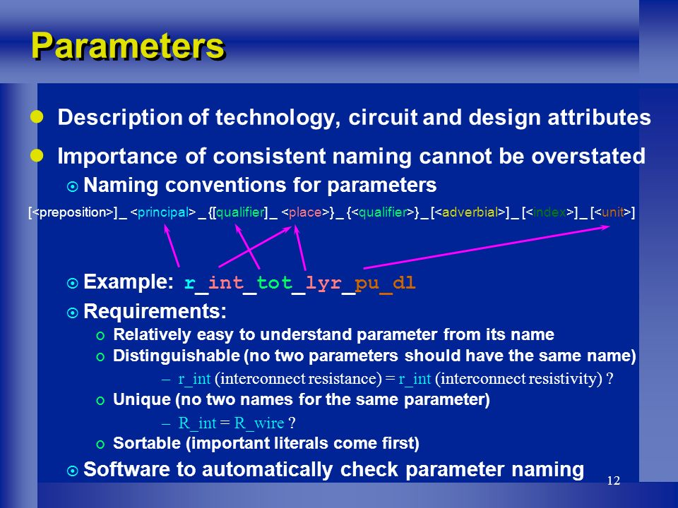 12 Parameters Description of technology, circuit and design attributes Importance of consistent naming cannot be overstated Naming conventions for parameters [ ] _ _ {[qualifier] _ } _ { } _ [ ] _ [ ] _ [ ] Example: r_int_tot_lyr_pu_dl Requirements: Relatively easy to understand parameter from its name Distinguishable (no two parameters should have the same name) –r_int (interconnect resistance) = r_int (interconnect resistivity) .