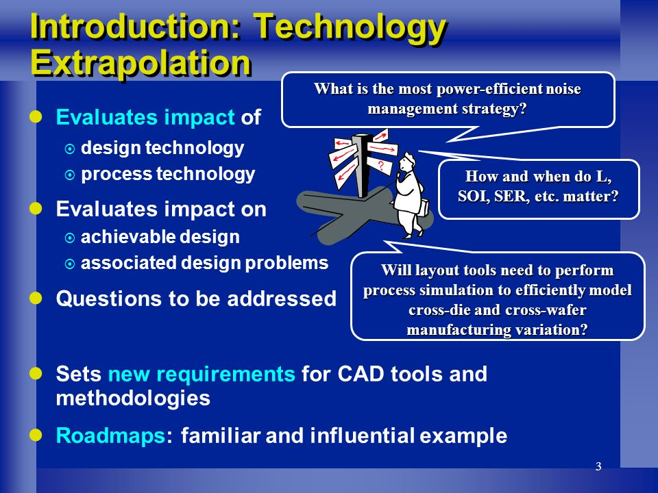 3 Introduction: Technology Extrapolation Evaluates impact of design technology process technology Evaluates impact on achievable design associated design problems Questions to be addressed Sets new requirements for CAD tools and methodologies Roadmaps: familiar and influential example How and when do L, SOI, SER, etc.