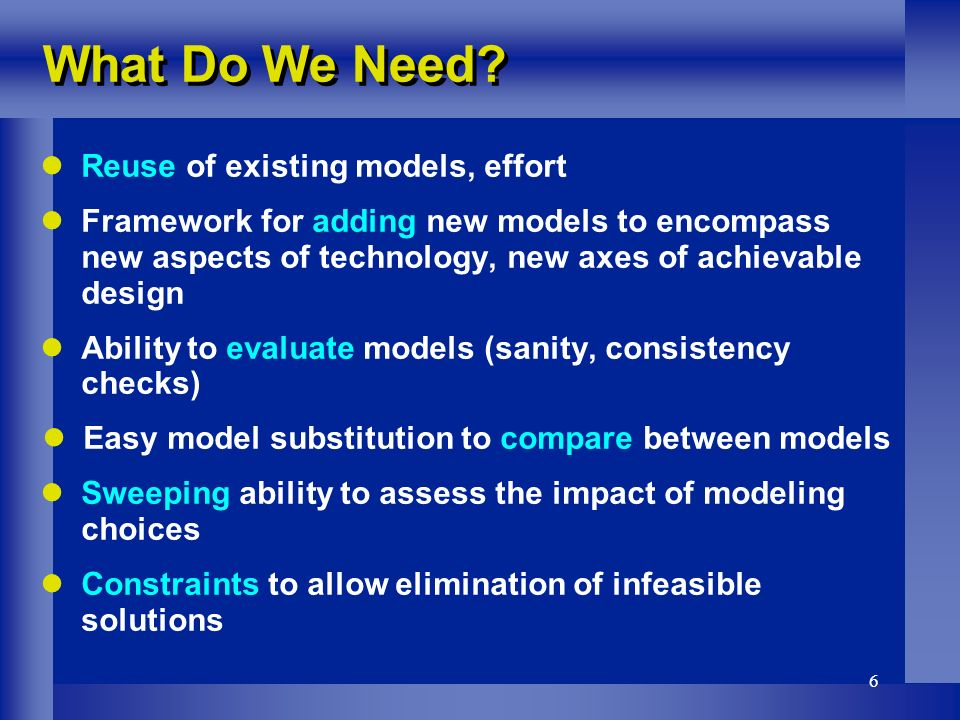 6 Reuse of existing models, effort Framework for adding new models to encompass new aspects of technology, new axes of achievable design Ability to evaluate models (sanity, consistency checks) Easy model substitution to compare between models Sweeping ability to assess the impact of modeling choices Constraints to allow elimination of infeasible solutions What Do We Need