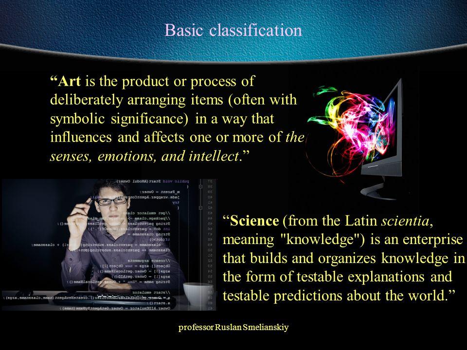 professor Ruslan Smelianskiy Basic classification