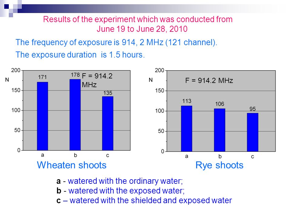 Results of the experiment which was conducted from June 19 to June 28, 2010 Wheaten shoots Rye shoots The frequency of exposure is 914, 2 MHz (121 channel).