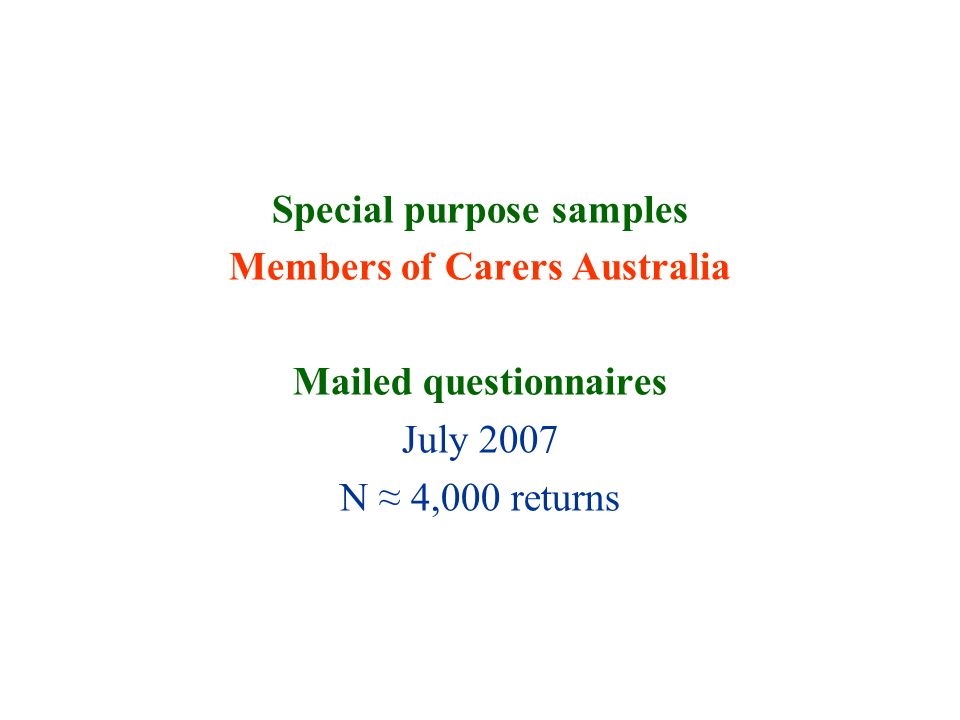 Special purpose samples Members of Carers Australia Mailed questionnaires July 2007 N 4,000 returns