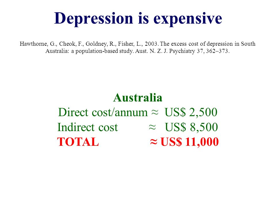 Depression is expensive Hawthorne, G., Cheok, F., Goldney, R., Fisher, L., 2003.