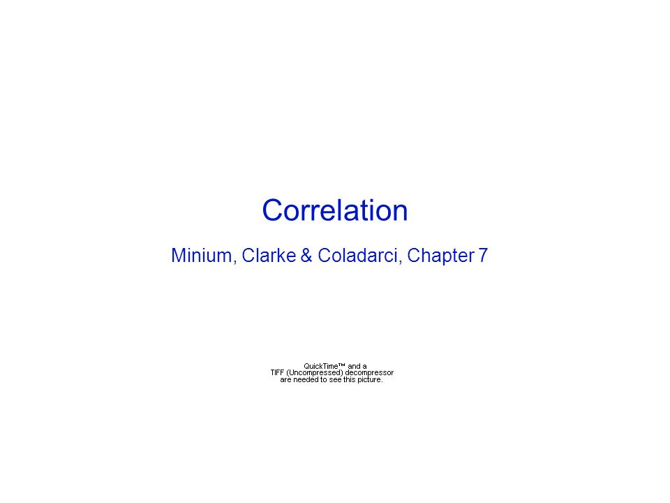 Correlation Minium, Clarke & Coladarci, Chapter 7