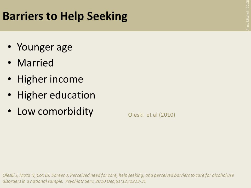 Barriers to Help Seeking Younger age Married Higher income Higher education Low comorbidity Oleski et al (2010) Oleski J, Mota N, Cox BJ, Sareen J.