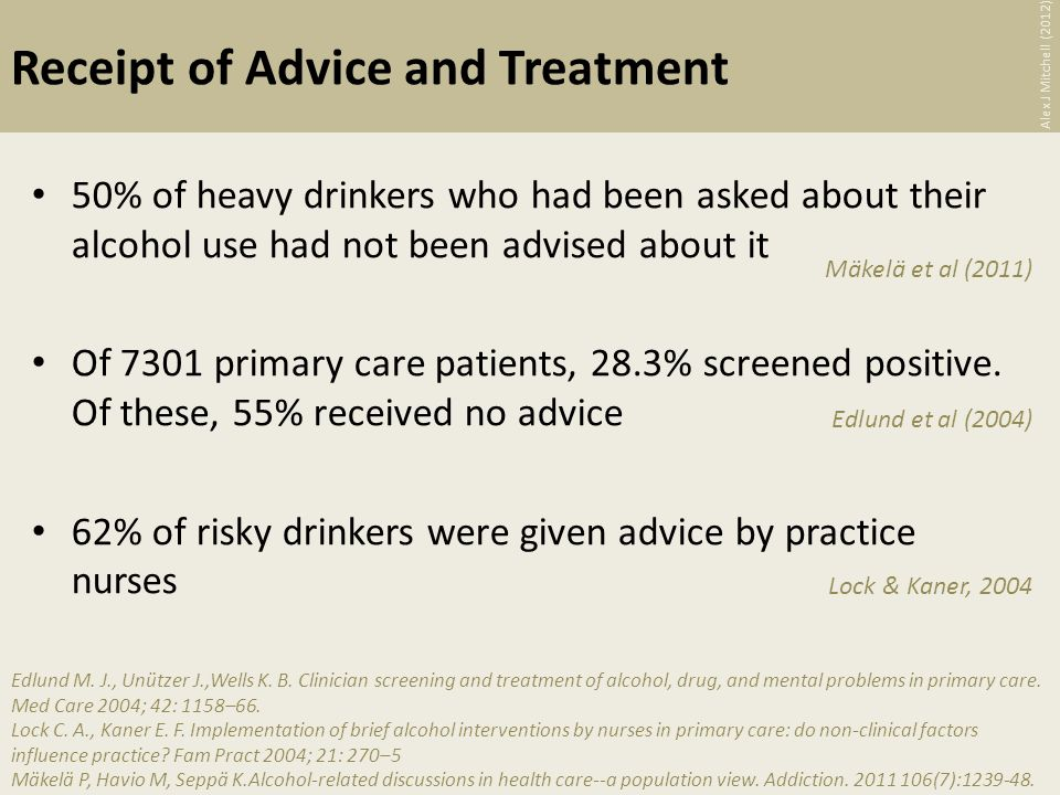Receipt of Advice and Treatment 50% of heavy drinkers who had been asked about their alcohol use had not been advised about it Of 7301 primary care patients, 28.3% screened positive.