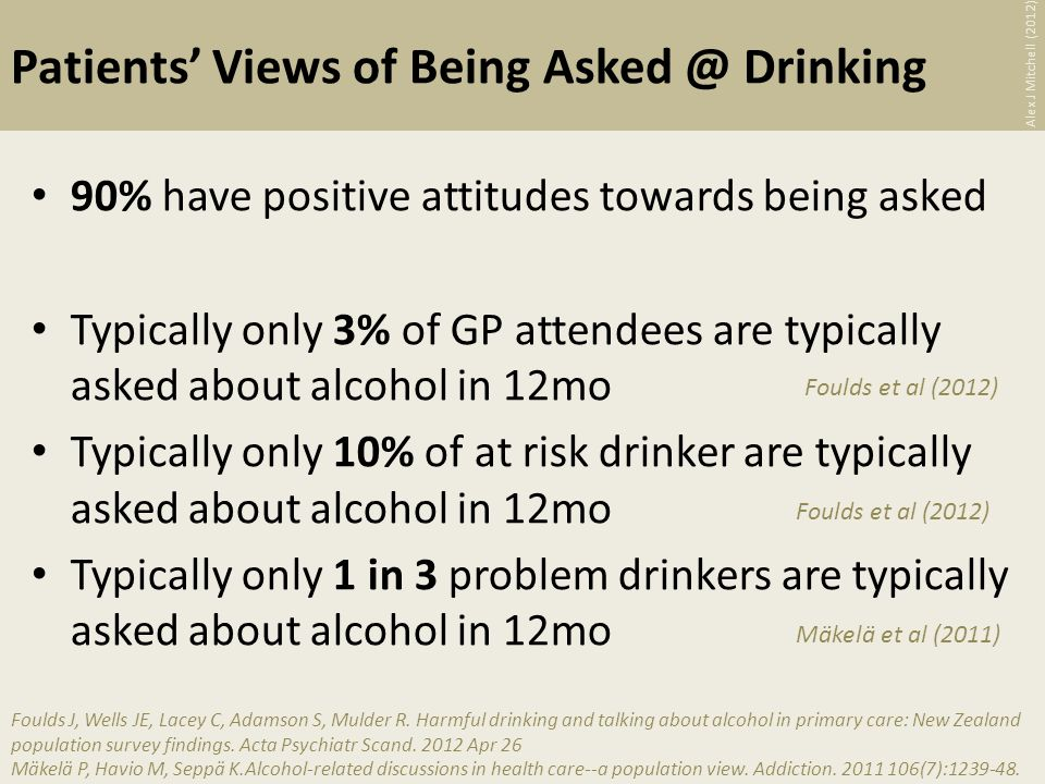 Patients Views of Being Drinking 90% have positive attitudes towards being asked Typically only 3% of GP attendees are typically asked about alcohol in 12mo Typically only 10% of at risk drinker are typically asked about alcohol in 12mo Typically only 1 in 3 problem drinkers are typically asked about alcohol in 12mo Foulds J, Wells JE, Lacey C, Adamson S, Mulder R.