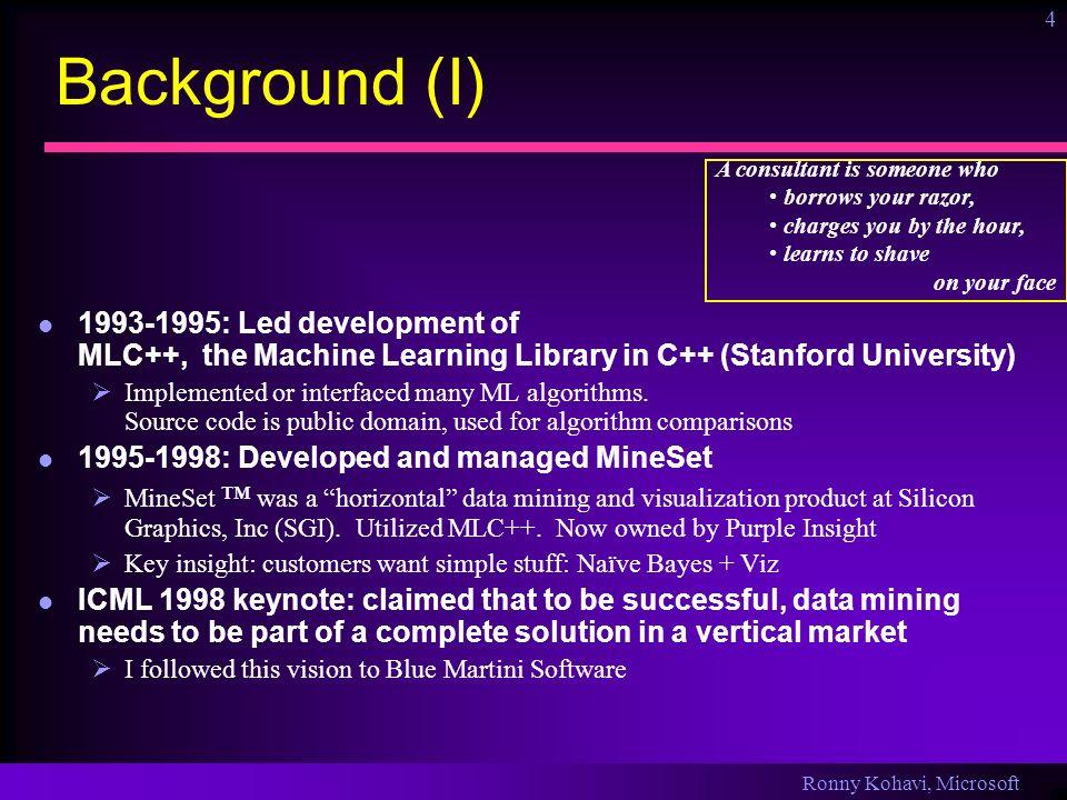 Ronny Kohavi, Microsoft 25 Controlled Experiments (II) Issues with controlled experiments Duration: we measure only short term impact.
