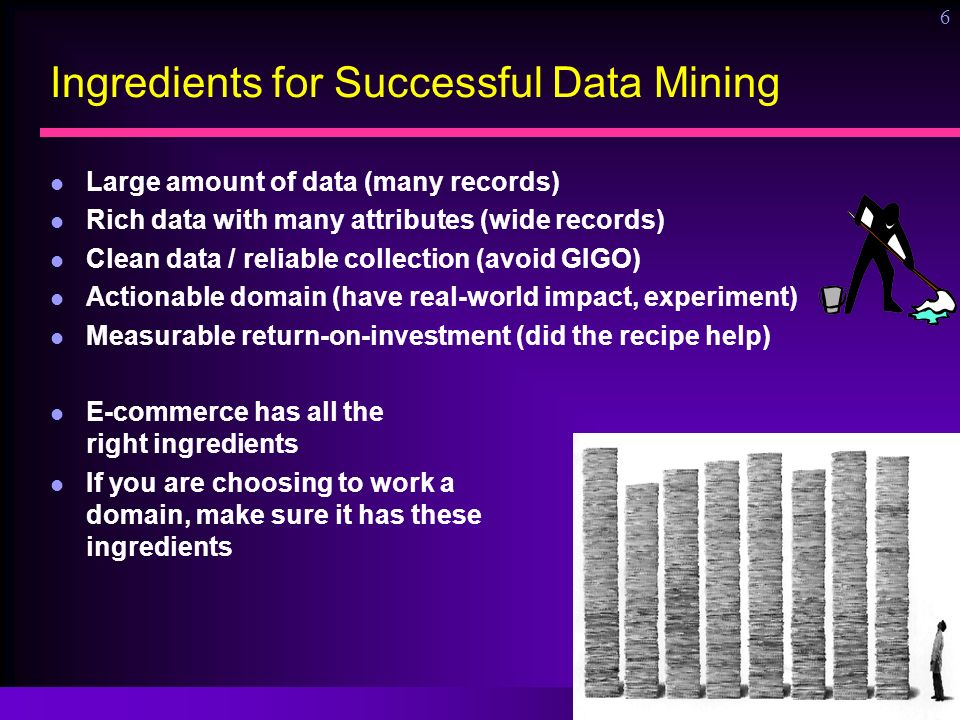 Ronny Kohavi, Microsoft 6 Ingredients for Successful Data Mining Large amount of data (many records) Rich data with many attributes (wide records) Cle