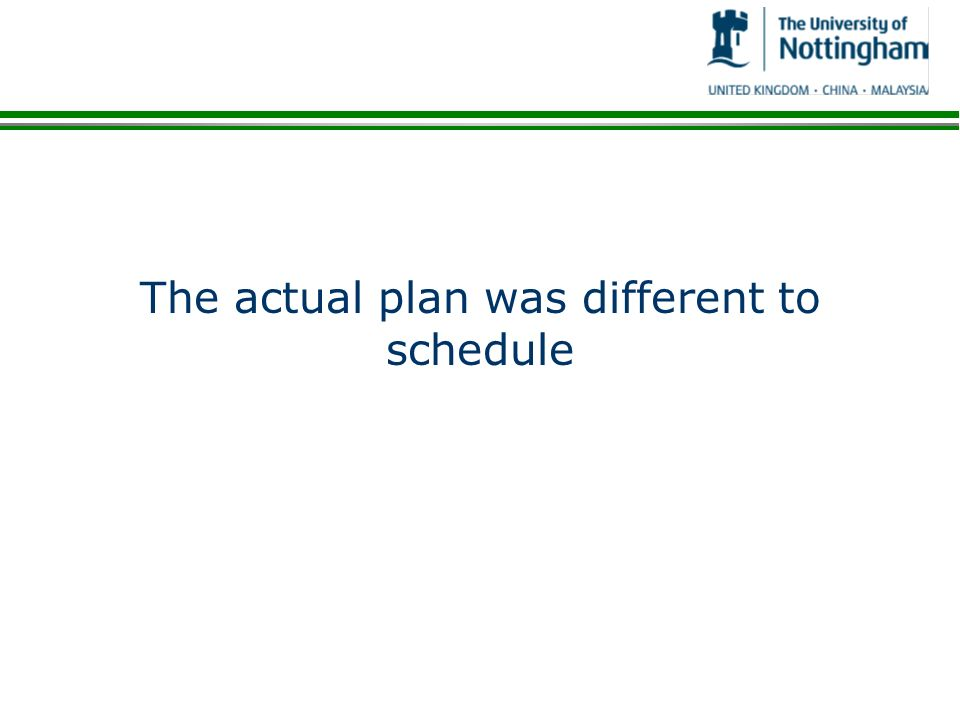 The actual plan was different to schedule