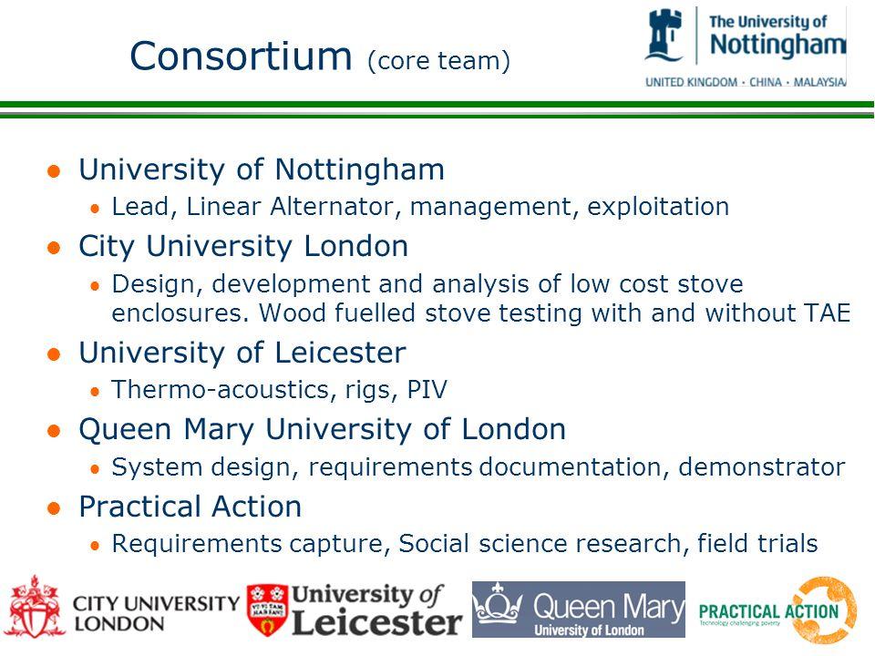 Consortium (core team) l University of Nottingham Lead, Linear Alternator, management, exploitation l City University London Design, development and a