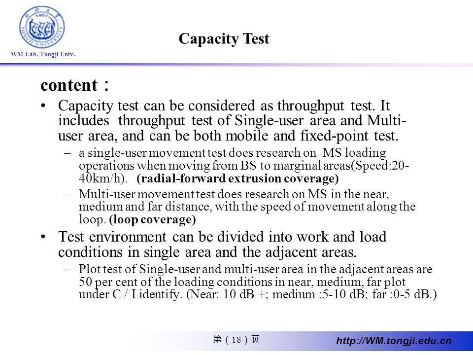 18 http://WM.tongji.edu.cn WM Lab, Tongji Univ. content Capacity test can be considered as throughput test. It includes throughput test of Single-user