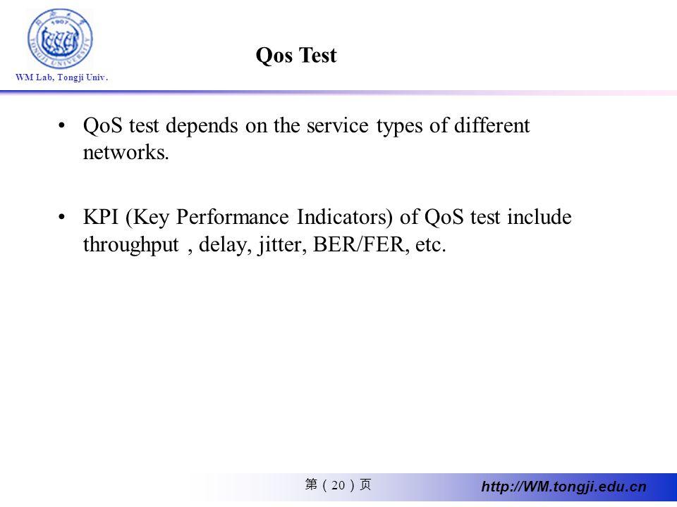 20 http://WM.tongji.edu.cn WM Lab, Tongji Univ. QoS test depends on the service types of different networks. KPI (Key Performance Indicators) of QoS t