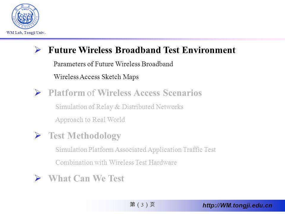 3 http://WM.tongji.edu.cn WM Lab, Tongji Univ. Future Wireless Broadband Test Environment Parameters of Future Wireless Broadband Wireless Access Sket