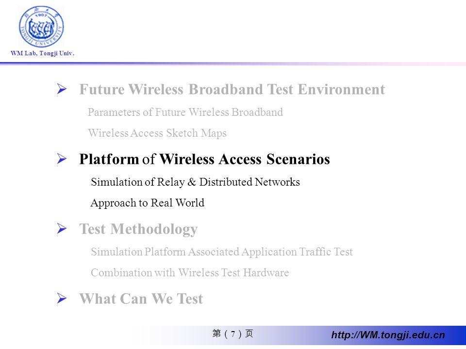 7 http://WM.tongji.edu.cn WM Lab, Tongji Univ. Future Wireless Broadband Test Environment Parameters of Future Wireless Broadband Wireless Access Sket