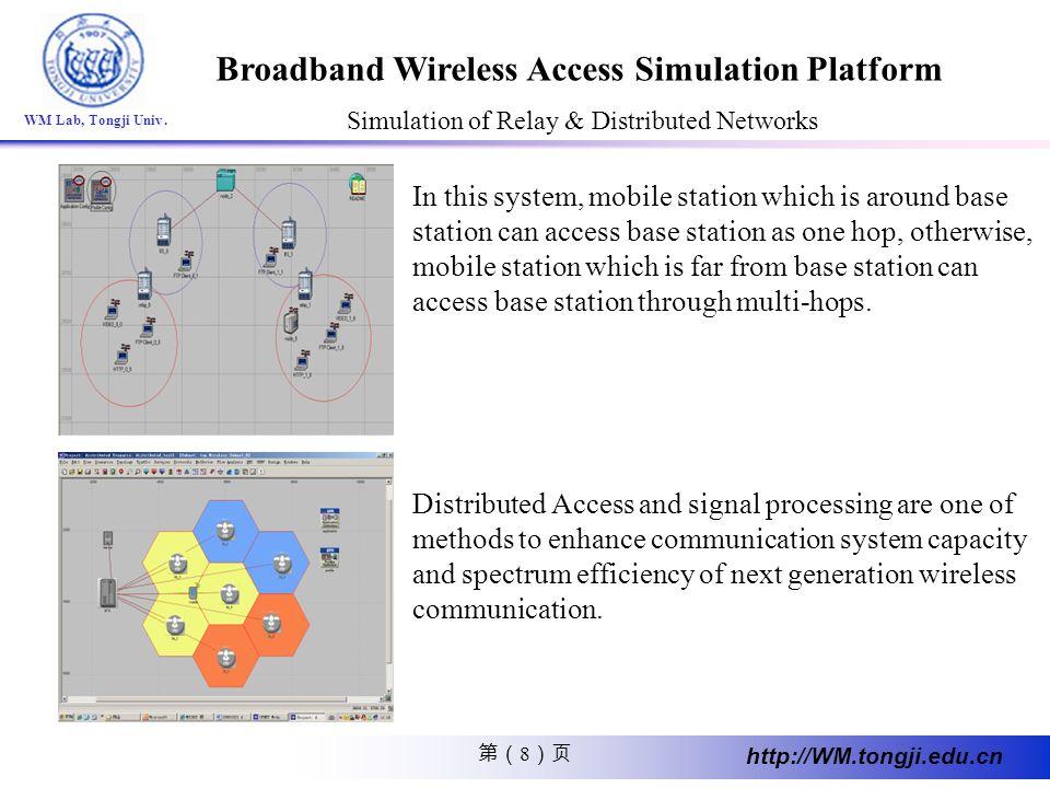 8 http://WM.tongji.edu.cn WM Lab, Tongji Univ. Broadband Wireless Access Simulation Platform Simulation of Relay & Distributed Networks In this system