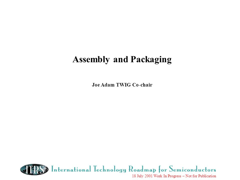18 July 2001 Work In Progress – Not for Publication Assembly and Packaging Joe Adam TWIG Co-chair