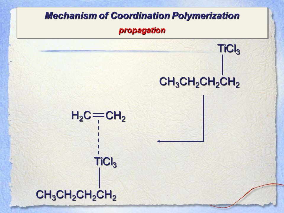 Mechanism of Coordination Polymerization propagation propagation TiCl 3 CH 3 CH 2 CH 2 CH 2 TiCl 3 CH 3 CH 2 CH 2 CH 2 H2CH2CH2CH2C CH 2